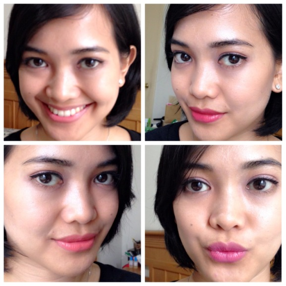 Lip swatches (top to bottom clockwise): My bare lips, Revlon Soft Rose, Revlon Mauve, Bobbi Brown Carnation