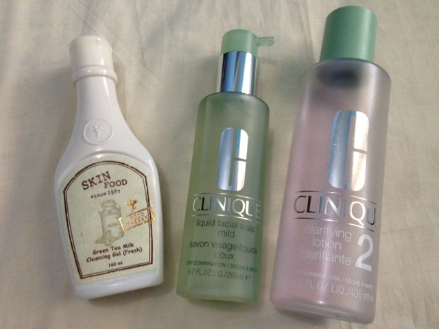 Skinfood Green Tea Milk Cleansing Gel, Clinique Liquid Facial Soap, Clinique Clarifying Lotion